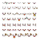 Collection of cute lovely emoticon emoji Doodle cartoon face Royalty Free Stock Image