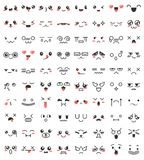 Collection of cute lovely kawaii eyes and mouths. Doodle cartoon faces in manga style. Cute emoticon emoji characters