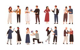 Collection of cute men giving flowers to women. Bundle of young and elderly admirers or adorers giving beautiful royalty free illustration