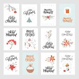 Collection cute Merry Christmas gift cards and set of elements vector illustration