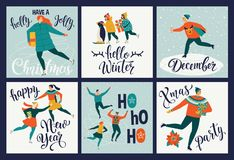 Collection of cute Merry Christmas and Happy New Year greeting cards. Set of hand drawn holiday posters templates vector illustration