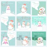 Collection of 9 cute Merry Christmas and Happy New Year ready-to-use gift cards with snowmen. Royalty Free Stock Image