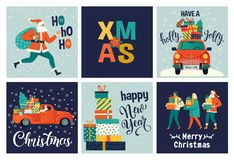Collection of cute Merry Christmas and Happy New Year for use gift cards. Set of printable hand drawn holiday posters vector illustration