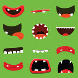 Collection of Cute Monster Mouths Stock Photography