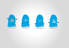 Cartoon cute monsters. Collection  cute monsters, in cartoon style, isolated on white background Stock Photo