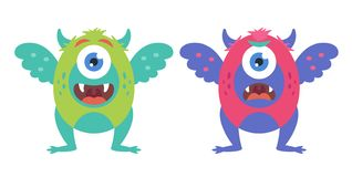 Collection of cute monsters vector illustration