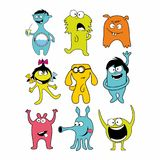 Collection of 9 cute monsters doodle. stock illustration