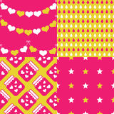 Collection of cute patterns Stock Photography