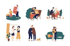 Collection of cute people giving holiday gifts or presents to each other. Bundle of scenes with adorable happy men and stock illustration