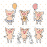 Collection of cute piglet sticker in cartoon style. Vector set isolated emotion piggy. Pigs in different situations smiling, eating bread, holding balloon in Royalty Free Stock Photography