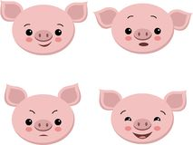 Collection of cute pigs in cartoon style. Vector set isolated emotion pig royalty free illustration