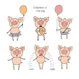 Collection of cute pigs in cartoon style. Vector set isolated emotion pig. Pigs in different situations smiling, pig eating bread, piggy holding air ball in Royalty Free Stock Images