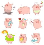 Collection of cute pigs. Set of cute pigs in kawaii style. Funny, happy, laughing, playing in mud, sleeping,  running, eating, with cake, with letter, with ice Royalty Free Stock Photography