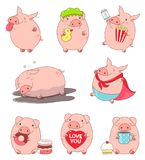 Collection of cute pigs. Set of cute pigs in kawaii style. Teases showing tongue, in superhero costume, with popcorn and ticket, sleeps in the mud, eats donut Royalty Free Stock Photo