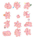 Collection of cute pink elephants vector illustration