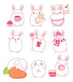Collection of cute rabbits Stock Photo
