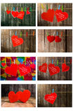 Collection of Cute red heart hanging on the clothesline. On old wood background Royalty Free Stock Images
