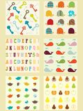 Collection of cute retro style  patterns Stock Photo