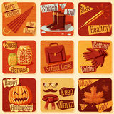 Collection of cute retro stylized autumn Stock Photography
