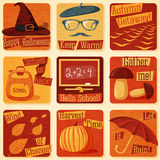 Collection of cute retro stylized autumn Royalty Free Stock Photos
