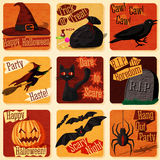 Collection of cute retro stylized halloween Royalty Free Stock Images