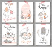 Collection of cute romantic ready design cards. Valentine day, e royalty free illustration
