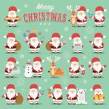 Collection of cute Santa Claus characters with reindeer, bear, snowman and gifts. Vector illustration vector illustration