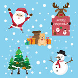 The collection of cute Santa Claus in various postures with gift Stock Photography