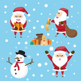 The collection of cute Santa Claus in various postures with gift Royalty Free Stock Image