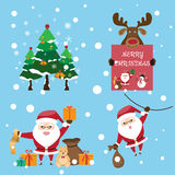 The collection of cute Santa Claus in various postures with gift Royalty Free Stock Images