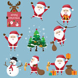 The collection of cute Santa Claus in various postures Royalty Free Stock Photos