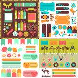 Collection of cute scrapbook elements Stock Photo