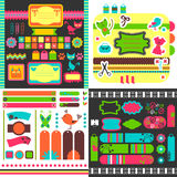 Collection of cute scrapbook elements Royalty Free Stock Images