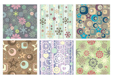 Collection of cute seamless wallpaper Royalty Free Stock Photo