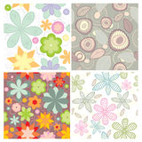 Collection of cute seamless wallpaper Stock Images