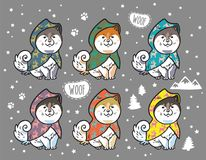 Husky puppies set in colorful raincoats. Cartoon vector illustration. Collection of cute siberian husky puppies in colorful raincoats. Different breeds of dogs Royalty Free Stock Photo