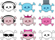 Collection Of Cute Skulls. A collection of cute cartoon illustration skulls in pink, white & blue.  There are bride & groom skulls, and skulls wearing headphones Stock Photography