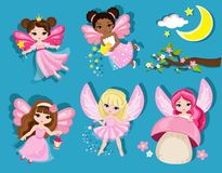 Collection of cute spring fairies. Royalty Free Stock Photography