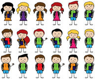 Collection of Cute Stick Figure Students in Vector Format. With Backpacks Stock Images