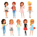 Collection of cute teenager girls dressed in stylish clothing. Female characters posing with cheerful face expressions Stock Photos