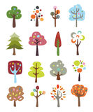 Collection of Cute Trees Stock Photography