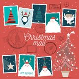 Cute Christmas vector stamps vector illustration