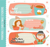 Collection of Cute Vector Journaling Cards. Notes, Stickers, Labels, Tags with Winter Christmas Illustrations and Wishes. Template for New 2016 Year Greeting royalty free illustration