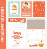 Collection of Cute Vector Journaling Cards. Notes, Stickers, Labels, Tags with Winter Christmas Illustrations and Wishes. Template for New 2016 Year Greeting vector illustration