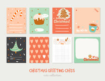 Collection of Cute Vector Journaling Cards. Notes, Stickers, Labels, Tags with Winter Christmas Illustrations and Wishes. Template for New 2017 Year Greeting vector illustration