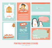 Collection of Cute Vector Journaling Cards. Notes, Stickers, Labels, Tags with Winter Christmas Illustrations and Wishes. Template for New 2017 Year Greeting stock illustration