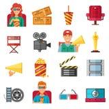 Collection décorative d'icônes de cinéma plat de couleur Photo stock
