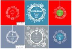 Collection décorative de label de vintage en vente de Noël avec les babioles, les sapins et les flocons de neige de dentelle Photos stock