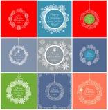 Collection décorative de label de vintage pendant des vacances de Noël avec les babioles de dentelle, les sapins décoratifs et le Photos stock