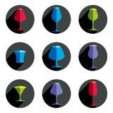 Collection décorative de verres à boire Ensemble de gobelets de célébration Image libre de droits